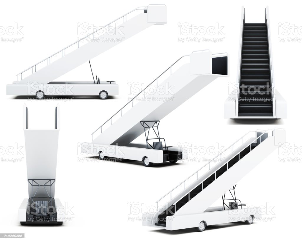 Set of movable boarding ramp isolated on a white background. stock photo