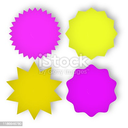 841438710 istock photo Set of multicolor star shapes stamps on white background 1186646780