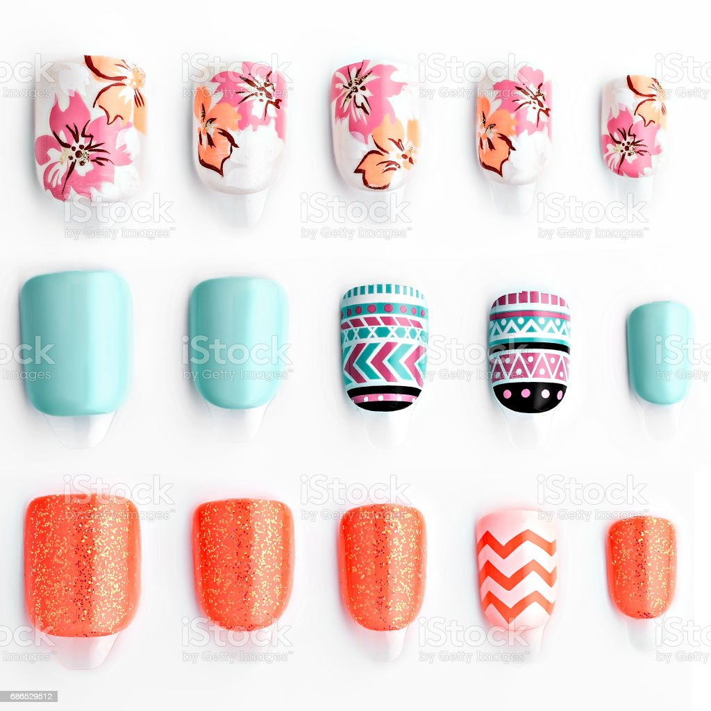 Set van multi-gekleurde valse nagels royalty free stockfoto