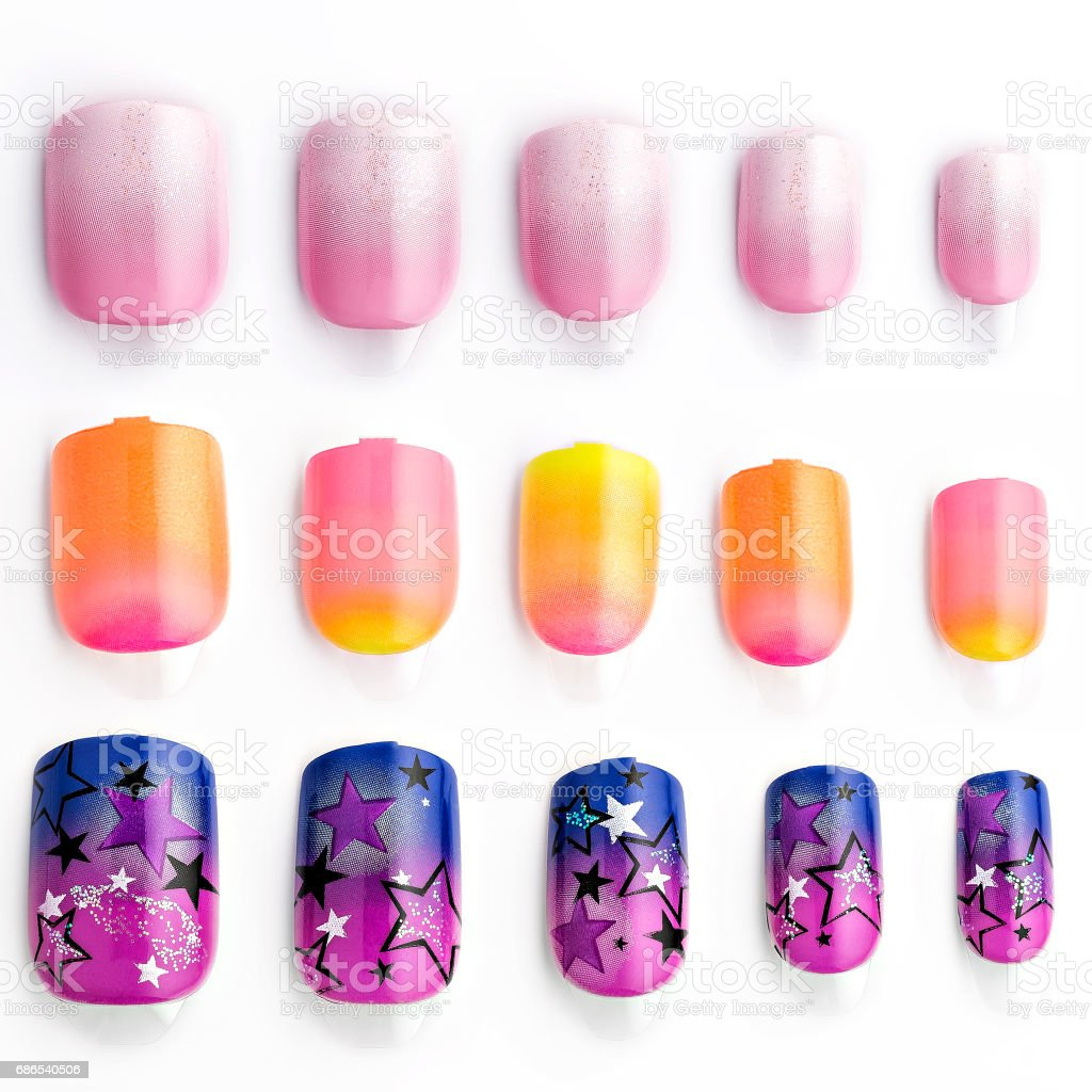 Set of multi-colored false nails zbiór zdjęć royalty-free