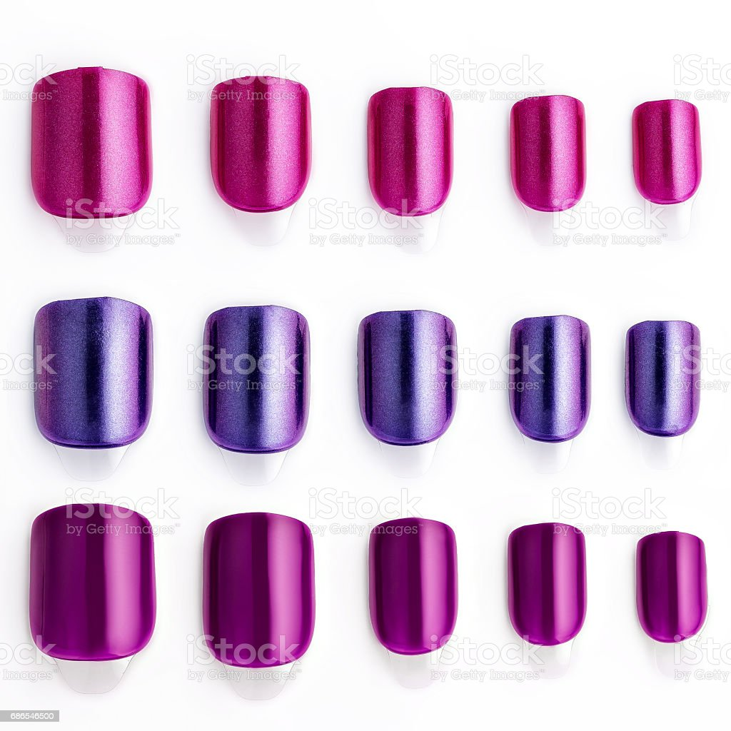 Set of multi-colored false nails foto stock royalty-free