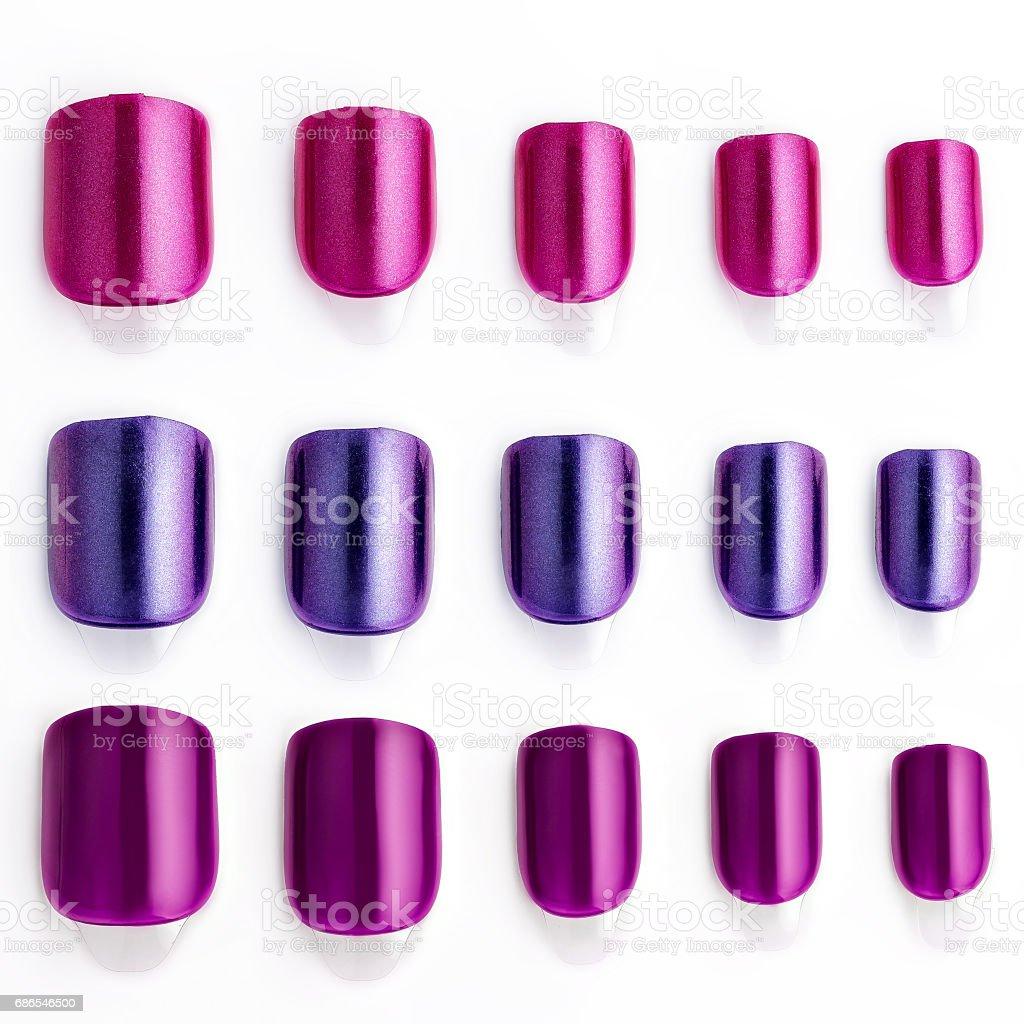 Set of multi-colored false nails stock photo