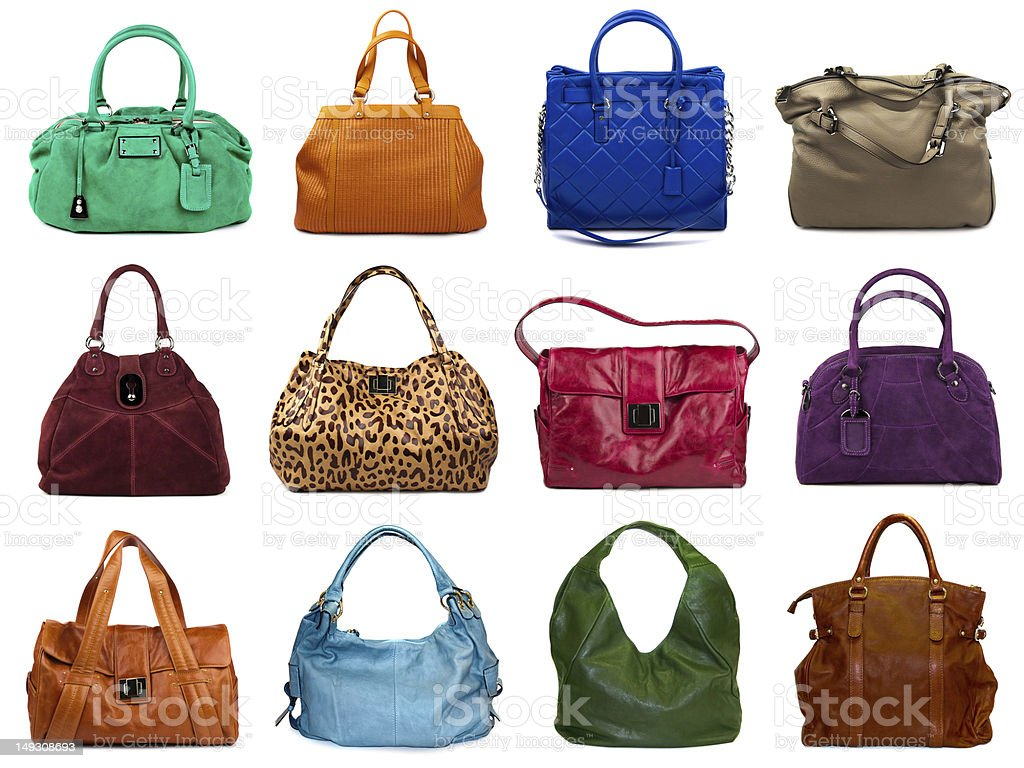 Set of multicolored female bags stock photo