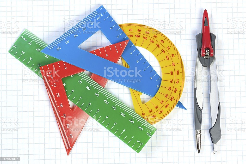 Set of multicolored lines triangles, protractors and Caliper. royalty-free stock photo