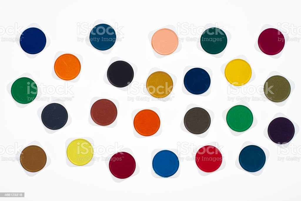 Set of multicolored watercolor paints stock photo