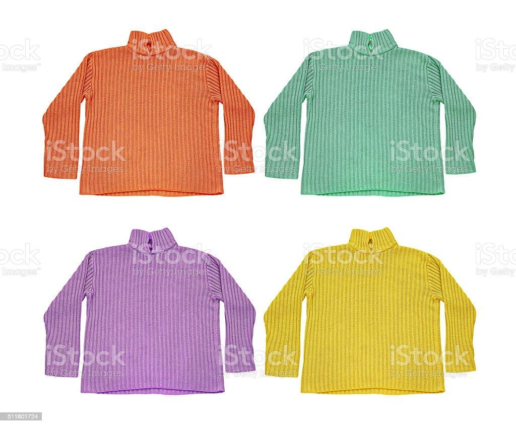 33dfe53810b0 Multicolor Conjunto De Lana Jerseys Aislado Sobre Blanco Foto de ...