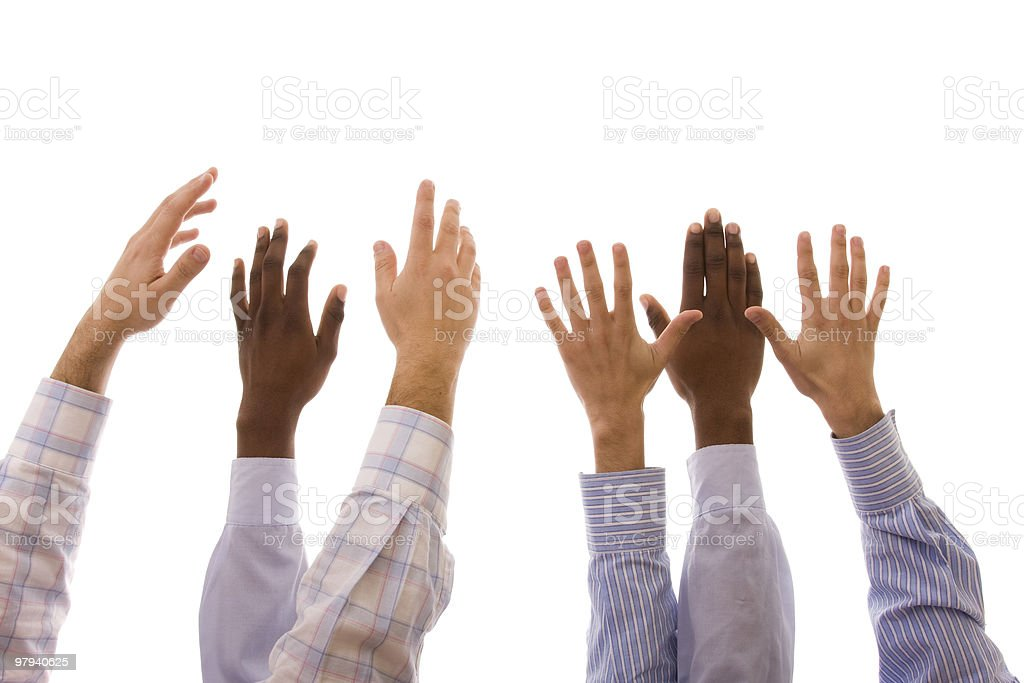 Set of multiracial hands raised in the air royalty-free stock photo