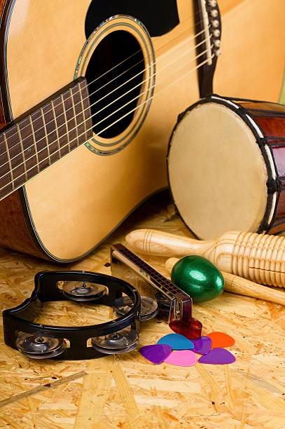 Set of musical instruments on OSB stock photo