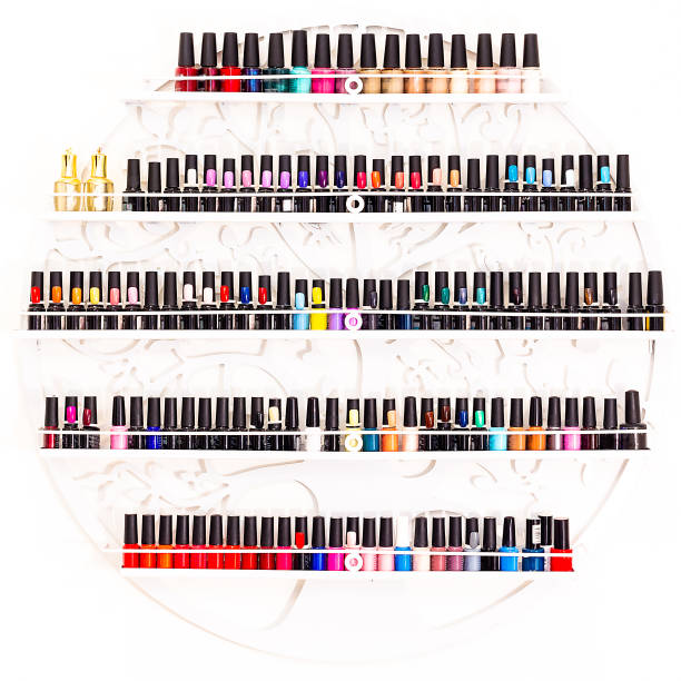 Set of nail polishes on a wall in beauty salon
