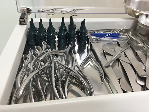 Set of nasal speculum in different sizes and depressors in medical clinic. Medical instrument for ENT doctor use