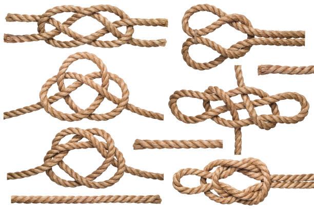 Conjunto de corda náutica nó isolado no fundo branco. - foto de acervo