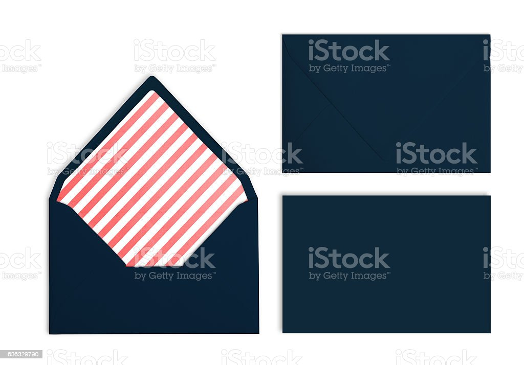Set of navy envelopes, Mockup. Collection on white background. stock photo