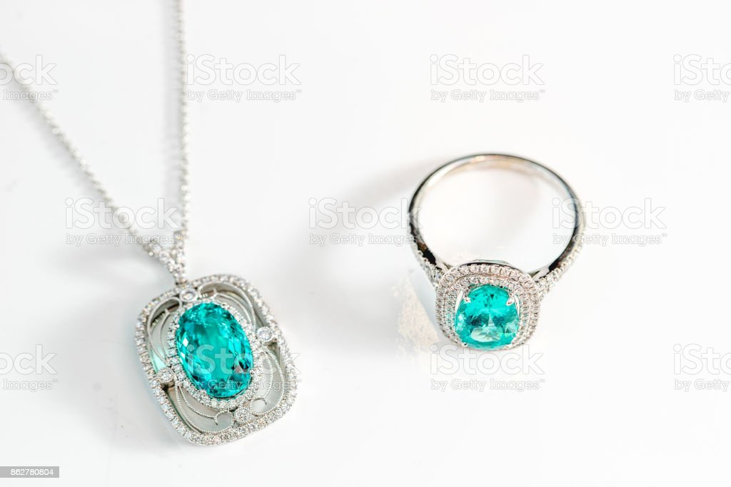 Set of necklace and ring with precious gemstone stock photo