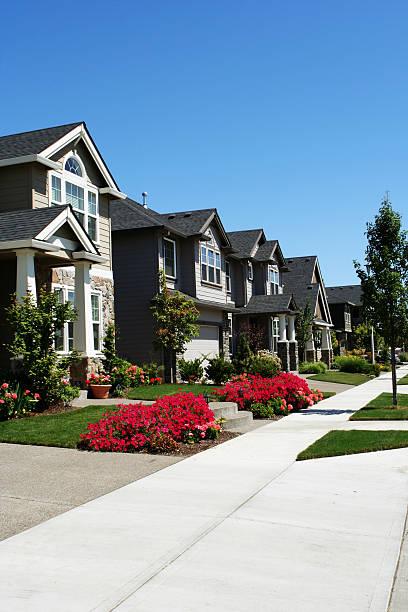 Set of Neighborhood Homes stock photo