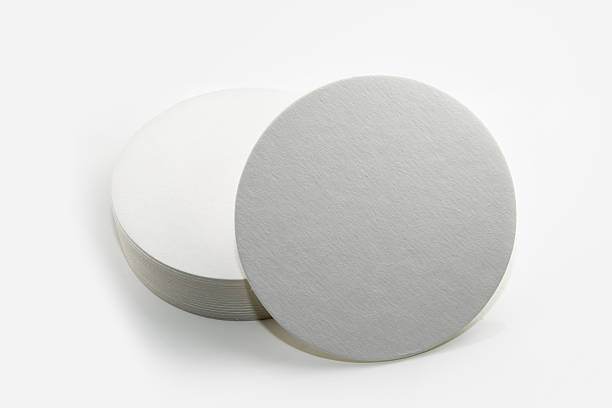 Set of new round paper coasters foto