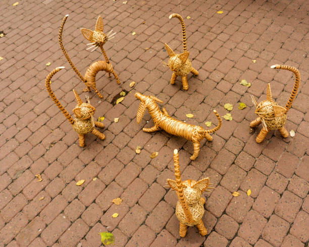 Set of nice handmade wicker toys - a dog surrounded by cats is placed on paved sidewalk. stock photo