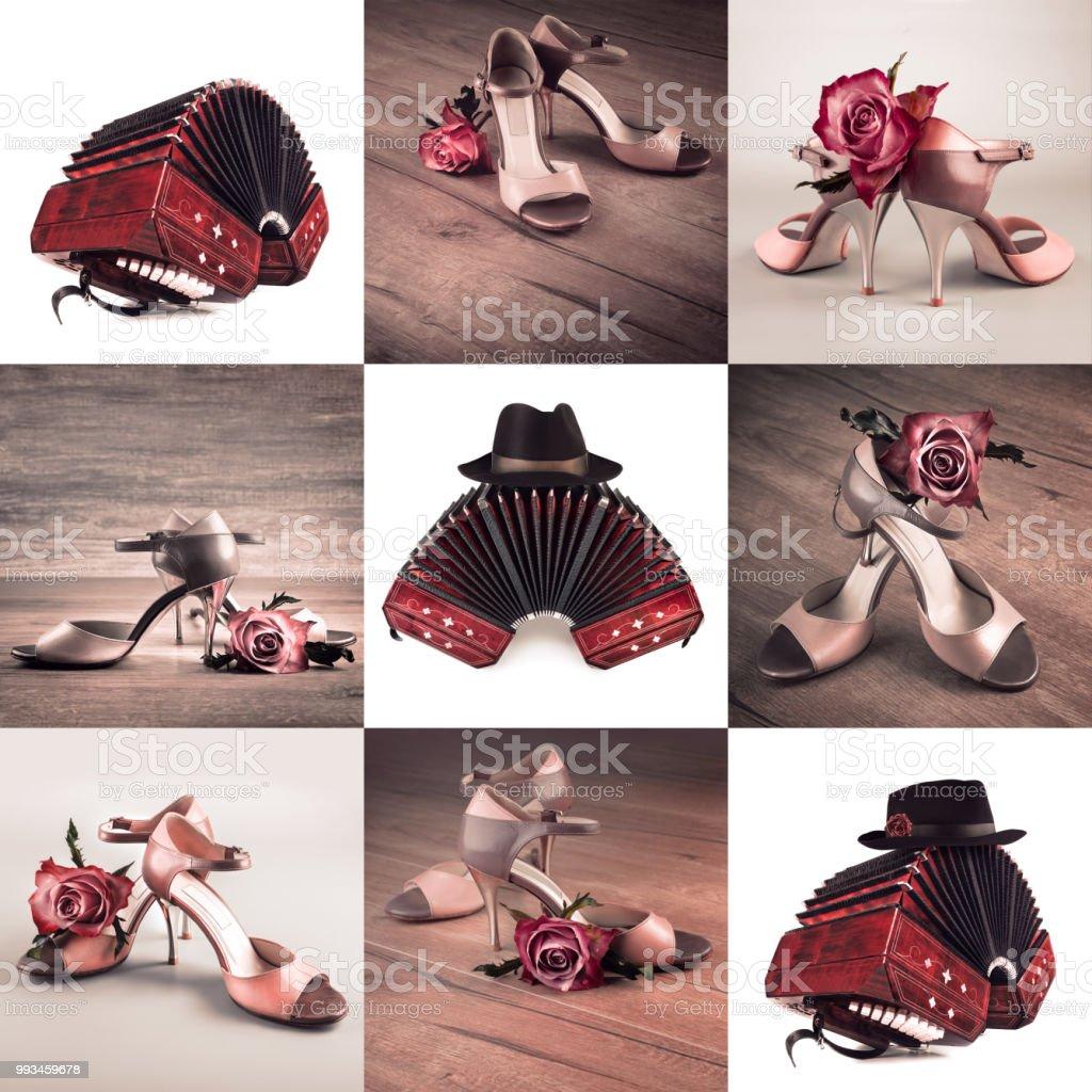 Conjunto de nueve closeups en bandoneón con la choza hombre y zapatos de tango mujer - foto de stock