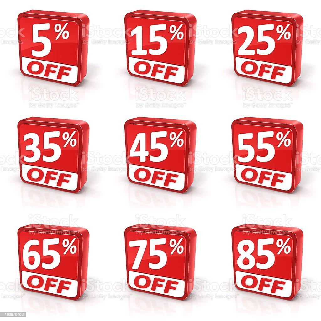 Set of nine discount sale symbols royalty-free stock photo