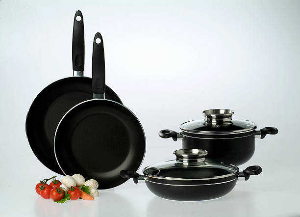 Set of non-stick cookware on a white background stock photo