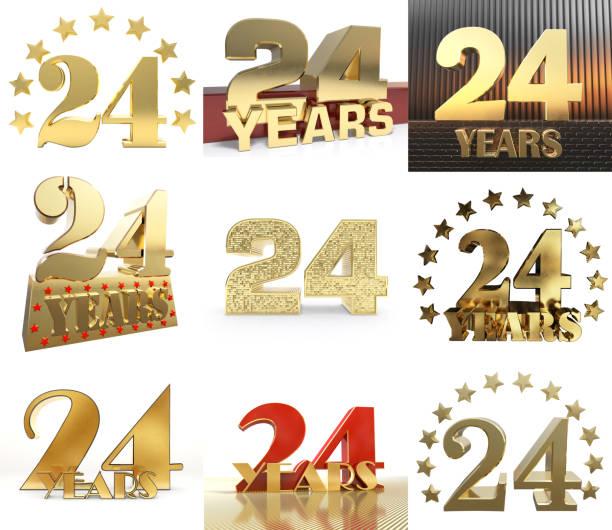 ensemble de conception de célébration numéro vingt quatre (24 ans). éléments de modèle numéros anniversaire doré pour votre fête d'anniversaire. illustration 3d - nombre 24 photos et images de collection