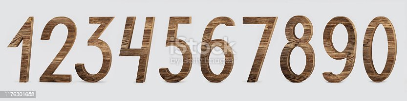 istock Set of numbers in a wooden style - 3D illustration 1176301658