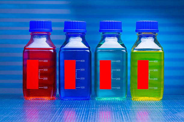 set of of food colorants, food additives stock photo