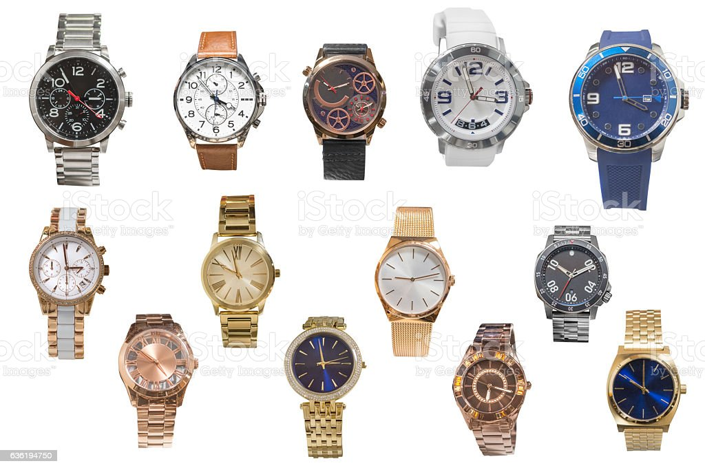 set of of wristwatches isolated on white background stock photo