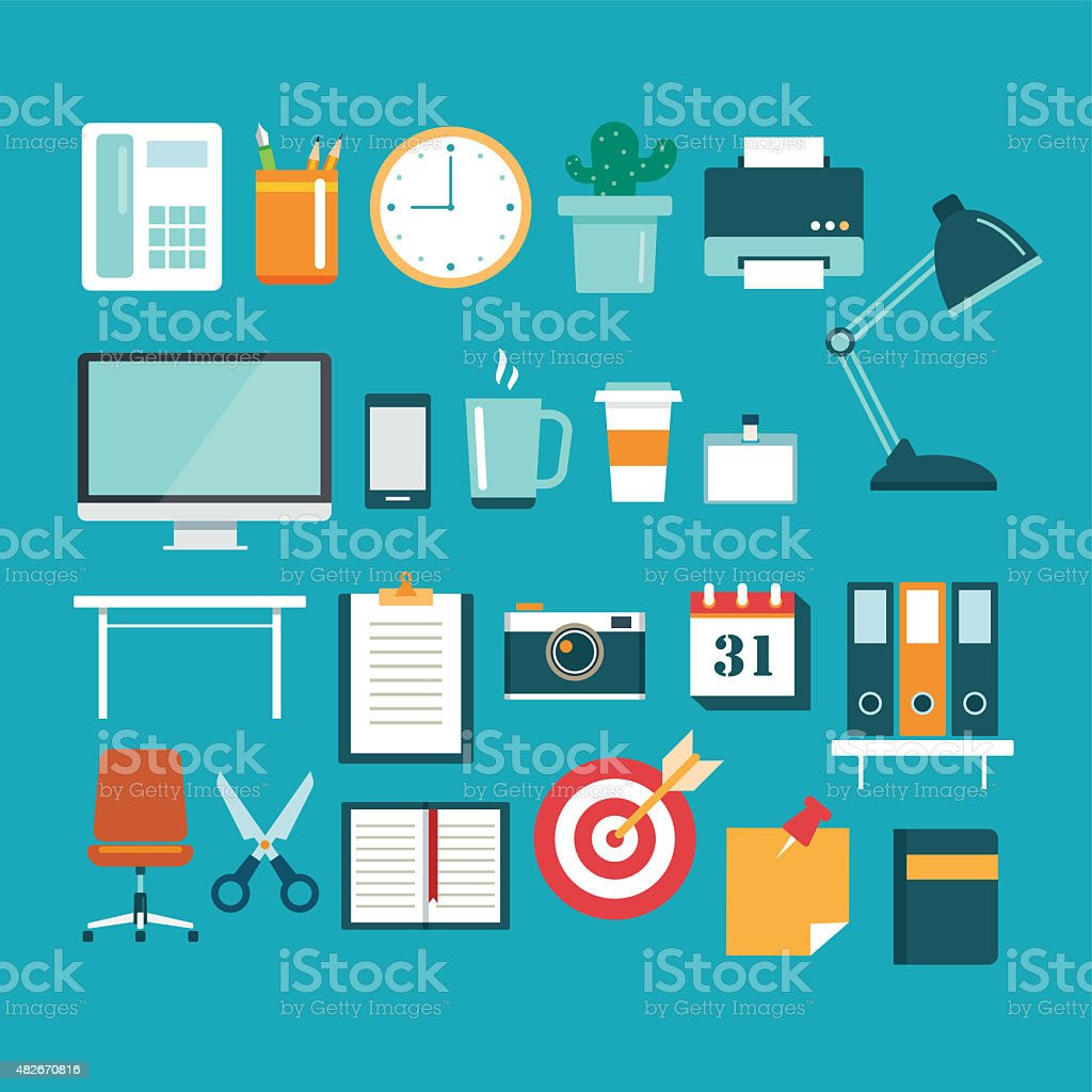 set of office equipment icon flat design stock photo