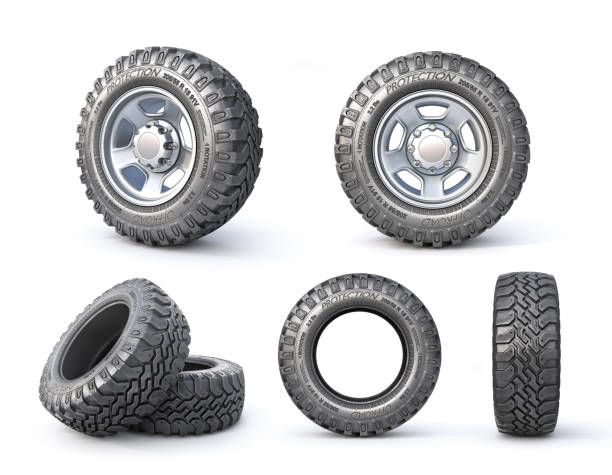 Set of Offroad wheels on a white background. 3d illustration stock photo
