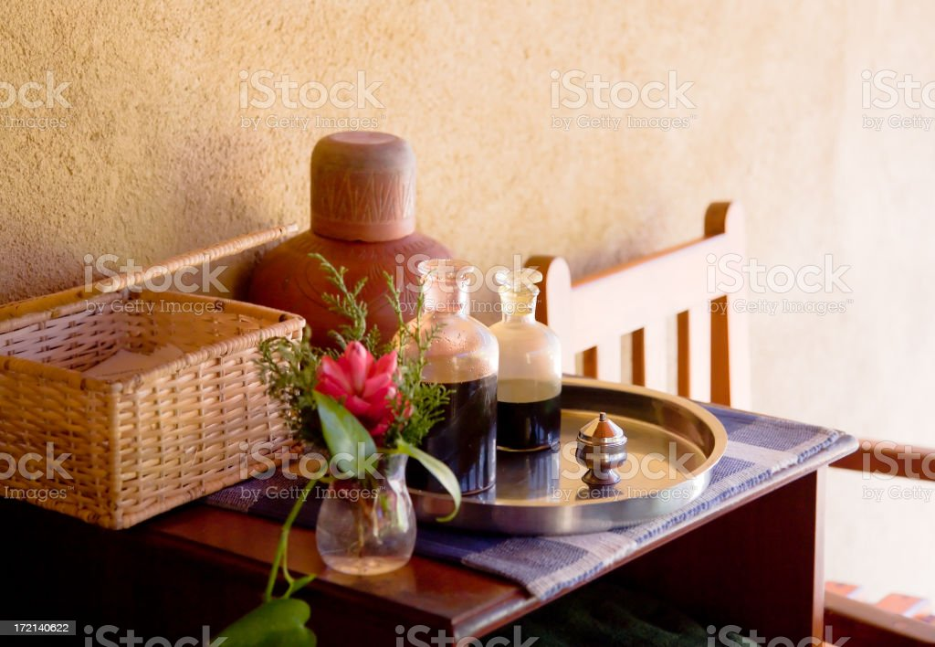 Set of oils for ayurveda massage royalty-free stock photo