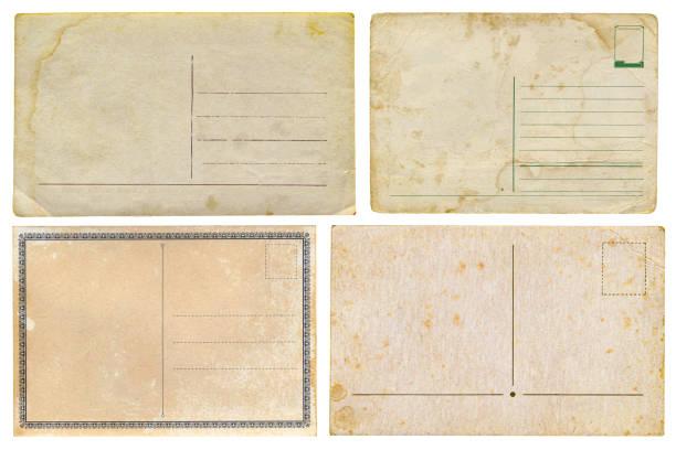 Set of old cards isolated on white background stock photo