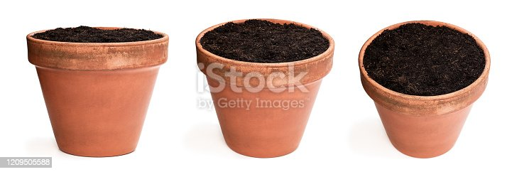 Set of  old ceramic flower pot with soil isolated on white