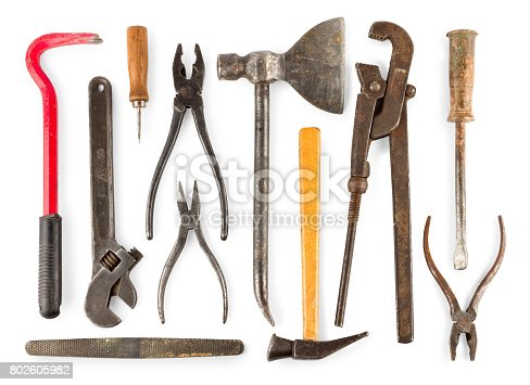 istock set of old home worker articles tools, isolated on a white background 802605982
