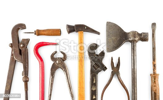 istock set of old home worker articles tools, isolated on a white background 802605984