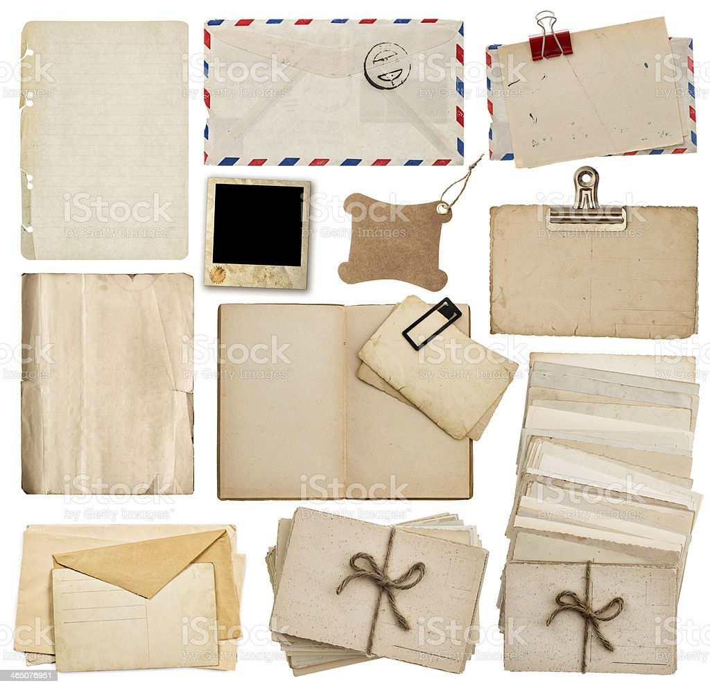 set of old paper sheets, book, envelope, postcards stock photo