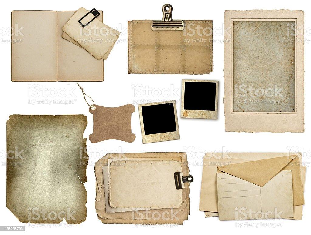 Conjunto de folhas de papel velho, reserve, páginas, cartões - foto de acervo