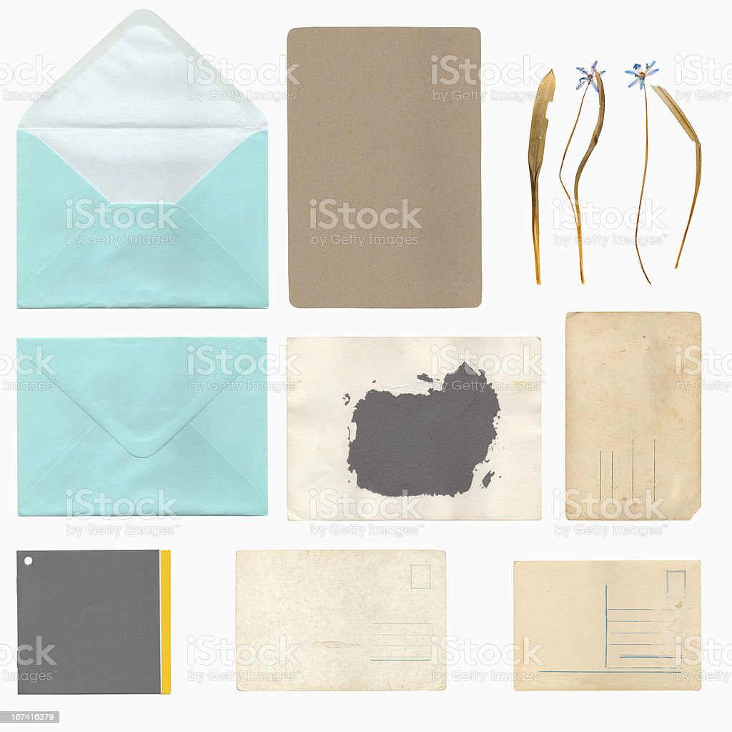 Set of old paper sheets, envelope and card royalty-free stock photo