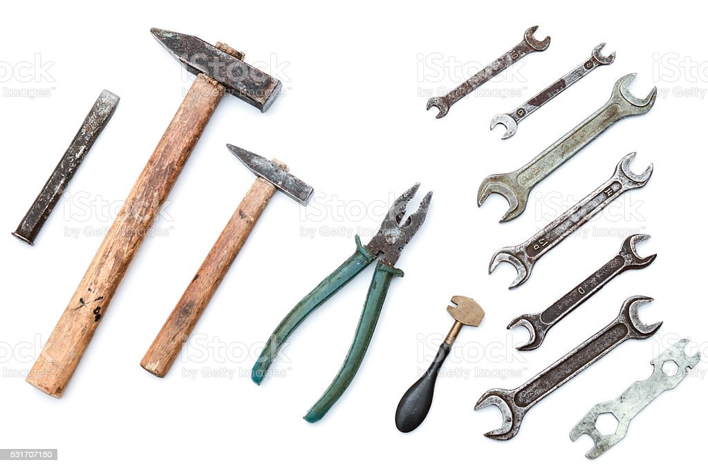 Set of old tools on a white background stock photo