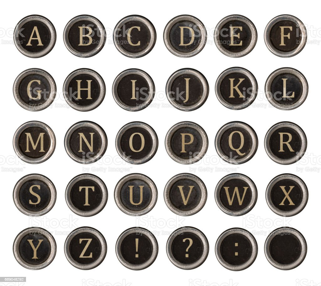 Set of old typewriter keys stock photo