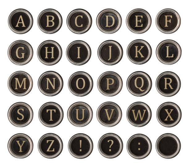 Set of old typewriter keys stock photo