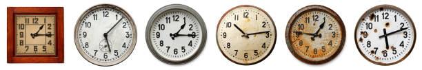 Set of old wall clocks stock photo