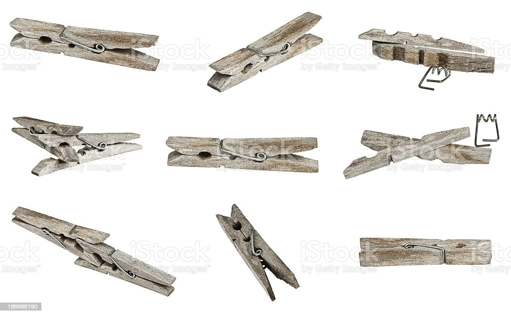 set of old wooden clothes clip royalty-free stock photo
