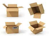 istock Set of open cardboard boxes. Delivery. 898906744