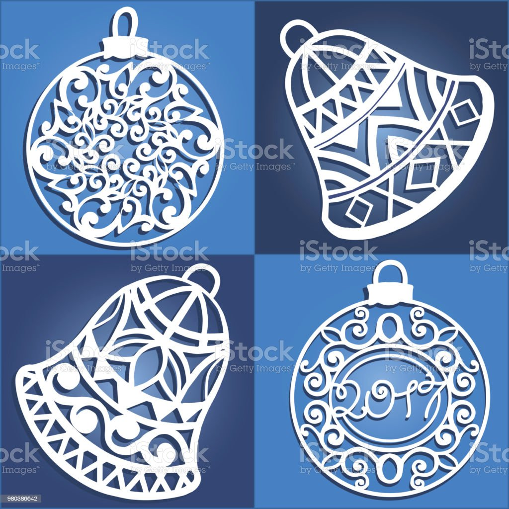 set of openwork christmas decorations laser cut paper christmas bell christmas decorations for wood
