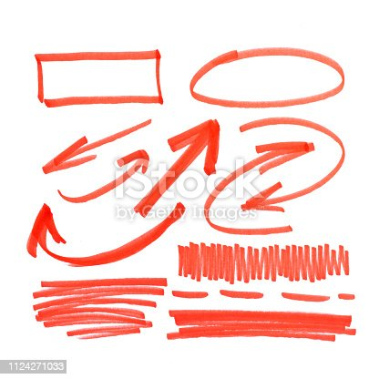 istock set of orange abstract hand-painted marker 1124271033