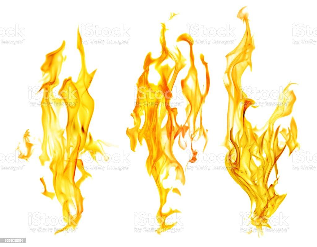 set of orange fire sparks on white background stock photo