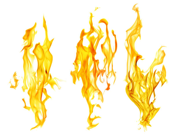 set of orange fire sparks on white background stock photo