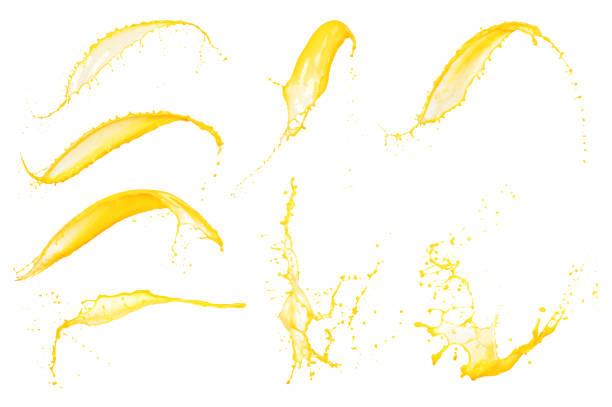 오렌지 주스 밝아진 흰색 배경에 고립의 세트 - 주스 뉴스 사진 이미지