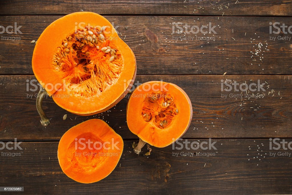 Set of orange pumpkins on wood flat lay free space stock photo