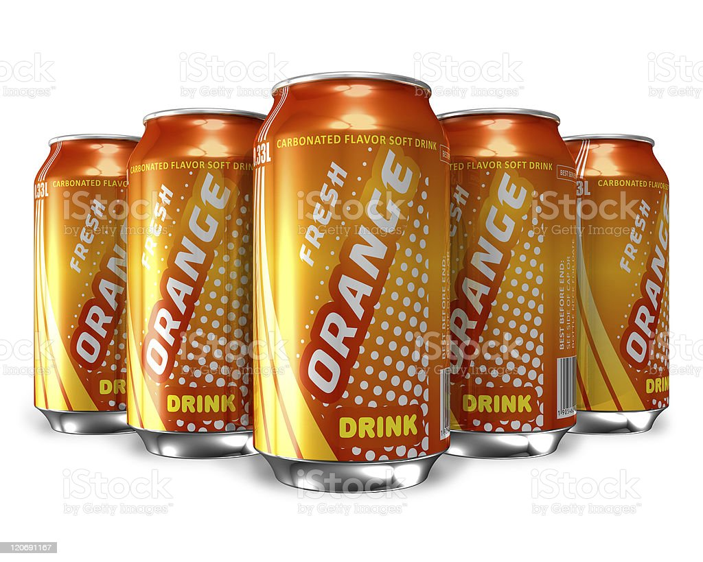 Set of orange soda drinks in metal cans stock photo